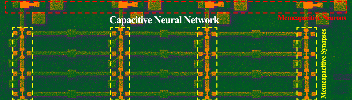 depiction of the first fully integrated capacitive neural network