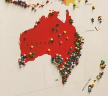 Map of Australia with pins stuck in it