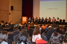 student speakers on staget at the 2019 Women in Engineering and Computing Career Day