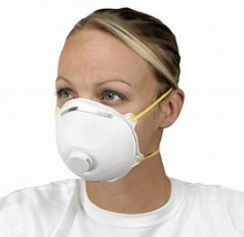 A person wearing an N95 protective mask