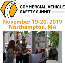 "Marketing image for the 2019 Commercial Vehicle Safety Summit with a theme of ""Best Practices for Industry and Law Enforcement Partnerships."""